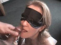 Blonde Wife Sucks Off While Blindfolded
